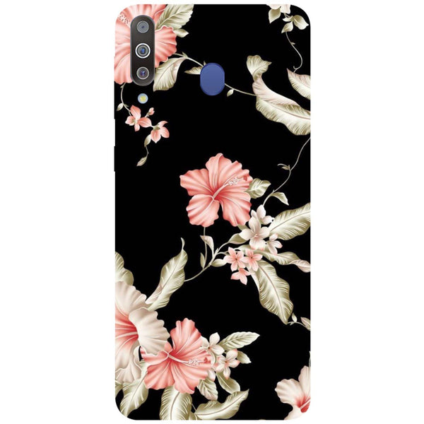 Black Flowers Samsung Galaxy M30 Back Cover-Hamee India