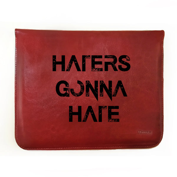 Hamee - Haters Gonna Hate - Tan Brown Leather 11 inch Tablet Sleeve-Hamee India