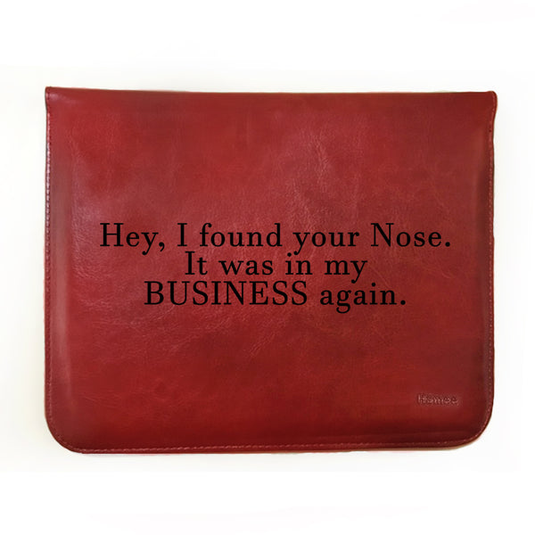 Hamee - Found You Nose - Tan Brown Leather 11 inch Tablet Sleeve-Hamee India