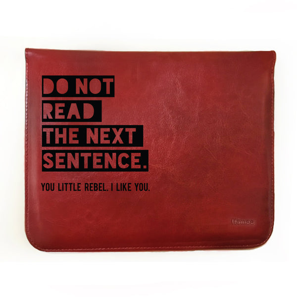 Hamee - Do Not Read - Tan Brown Leather 11 inch Tablet Sleeve-Hamee India