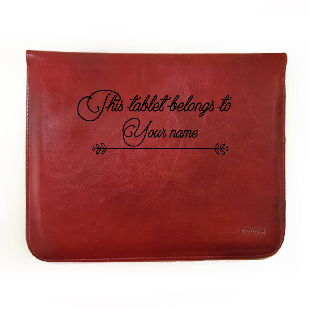 Hamee - Customisable With Your Name - Tan Brown Leather 11 inch Tablet Sleeve-Hamee India