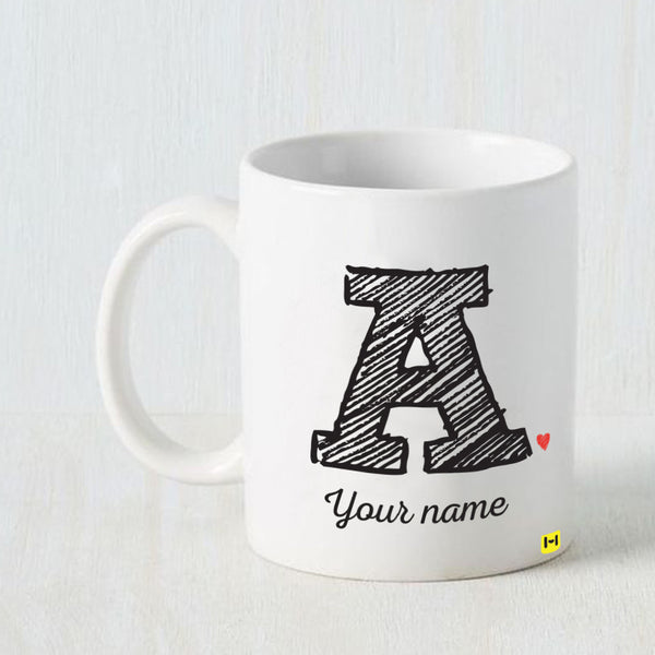 Hamee -Customizeable Design Name & Design Alphabet Your Name- White Coffee Mug-Hamee India