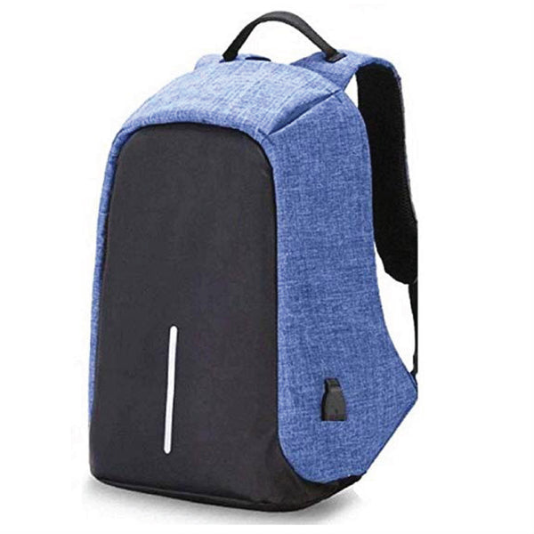 Anti-Theft Laptop Backpack with USB port - Blue Black-Hamee India