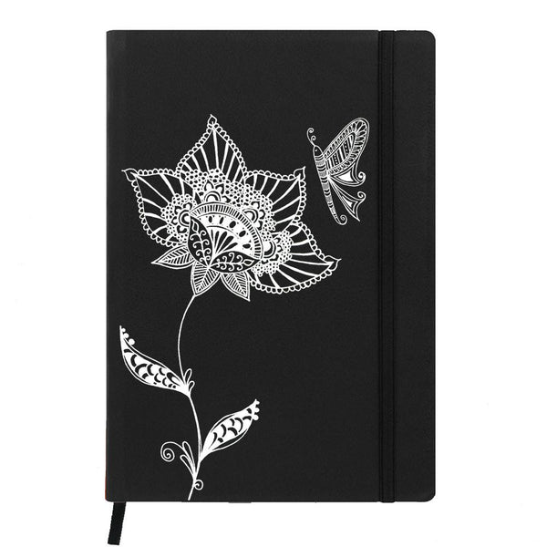 Butterfly on Flower Black A6 Pocket Diary
