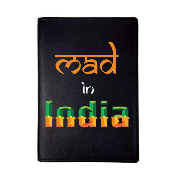 Mad In India Black PU Leather Passport Wallet / Holder-Hamee India