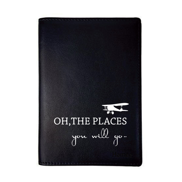 Oh The Places Black PU Leather Passport Wallet / Holder-Hamee India