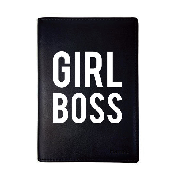 Girl Boss Black PU Leather Passport Wallet / Holder-Hamee India