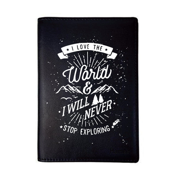 Love The World Black PU Leather Passport Wallet / Holder-Hamee India