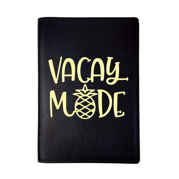 Vacay Mode Black PU Leather Passport Wallet / Holder-Hamee India
