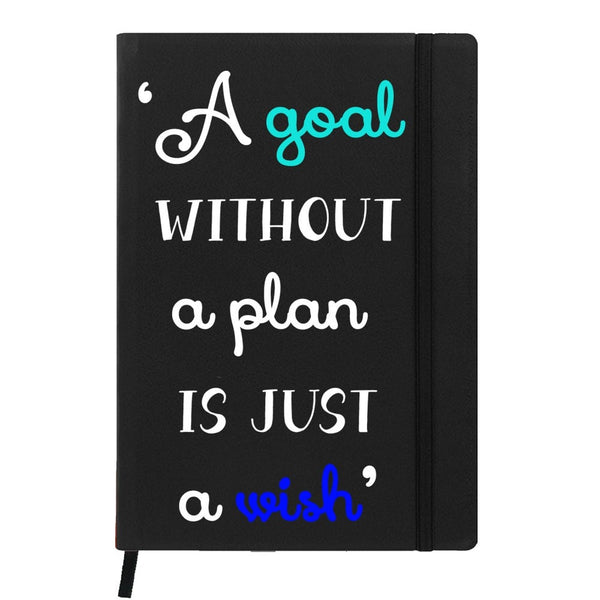 Hamee India - A Goal Without Plan is Wish - Black Leather Notebook