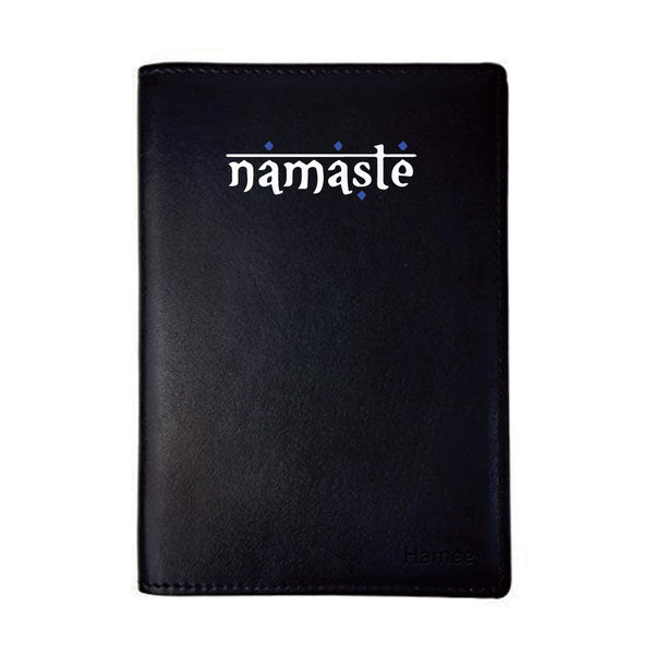 Namaste Black PU Leather Passport Wallet / Holder-Hamee India