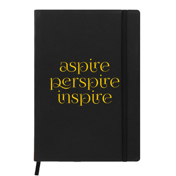 Hamee India - Aspire Perspire Inspire - Black Leather Notebook
