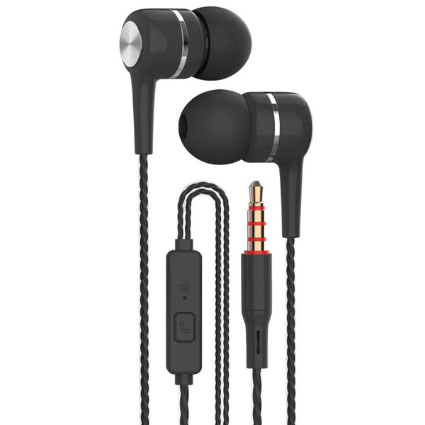 Black - Spiral Cord Earphones with Mic