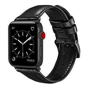 Black Real Leather Band Strap - Apple Watch Series 5/4/3 (44mm/42mm)