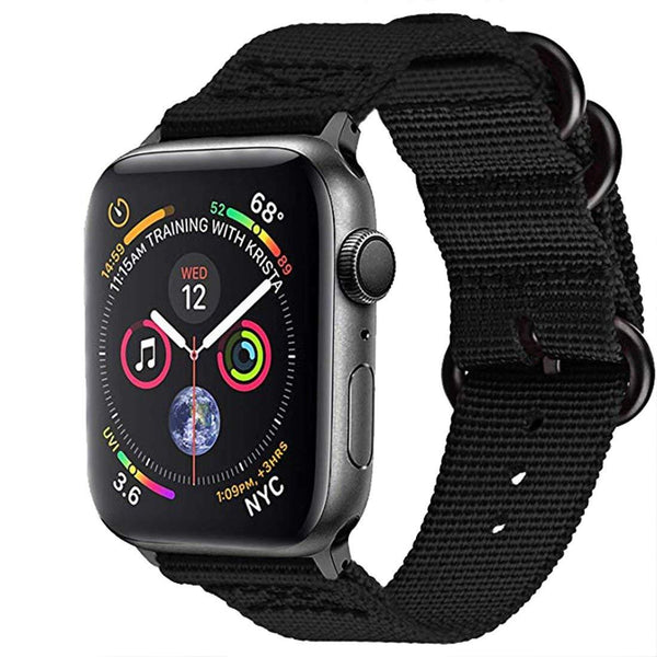 Black Nylon Woven Band Strap - Apple Watch Series 5/4/3 (44mm/42mm)