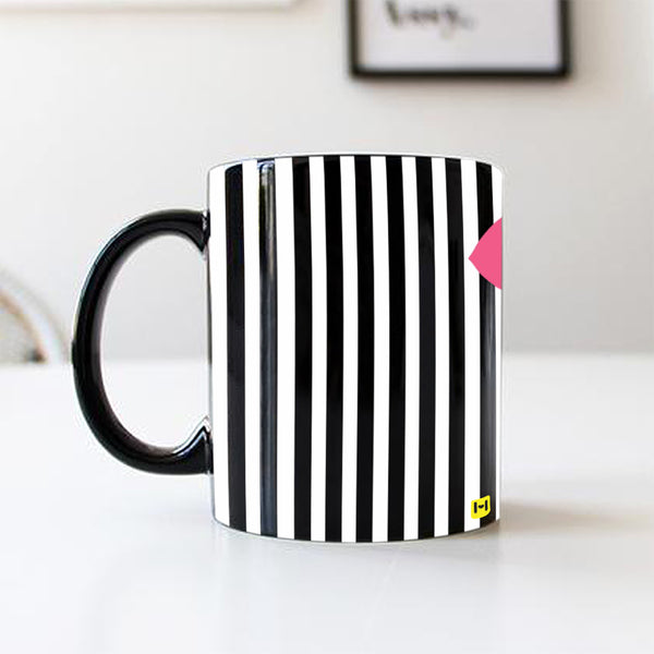 Black Coffee Mug - Stripes Heart-Hamee India