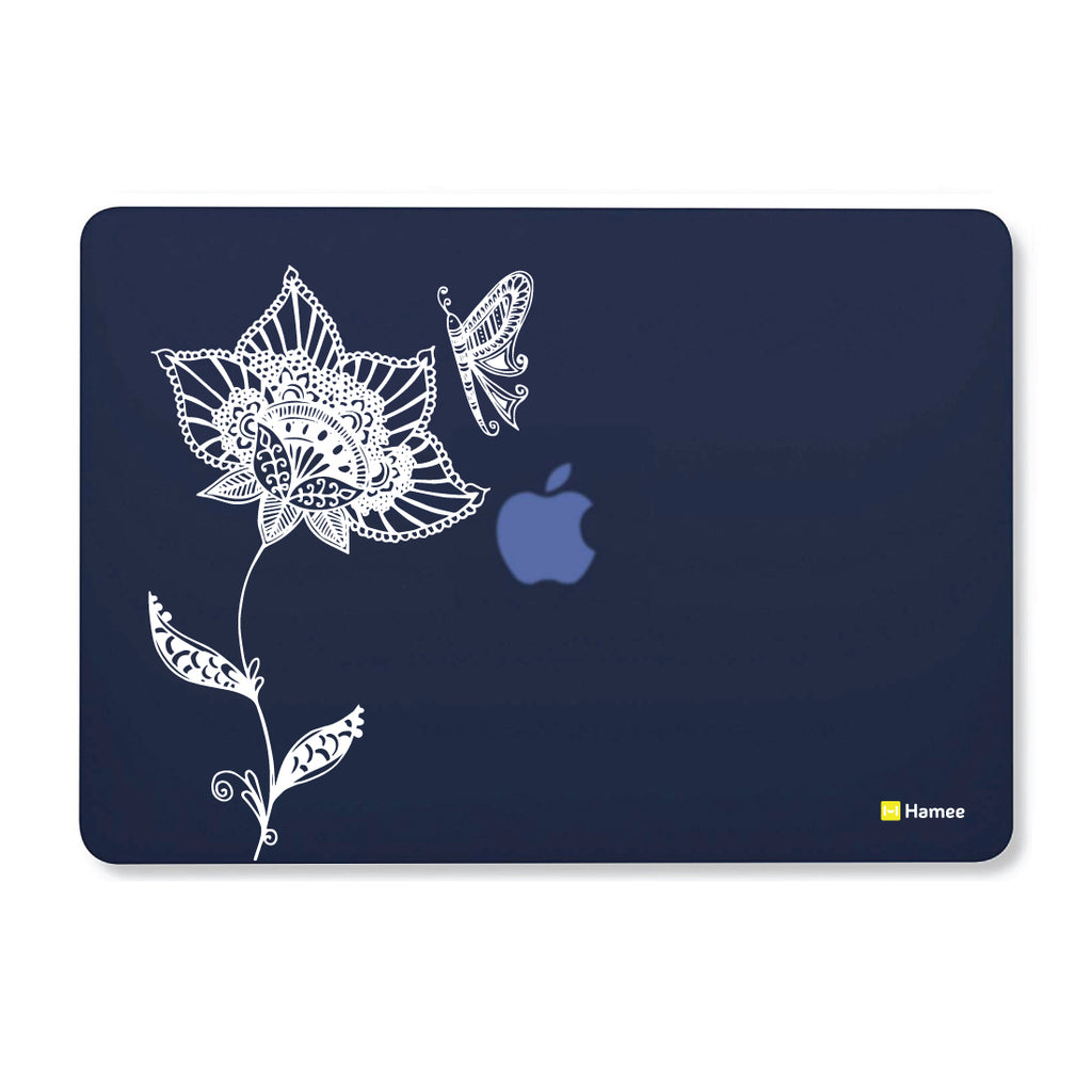 "Flower Doodle - Navy Blue MacBook Air 13"" Cover-Hamee India"