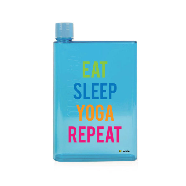 Yoga Repeat - Blue Water Bottle (420 ml)-Hamee India