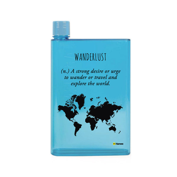 Wanderlust - Blue Water Bottle (420 ml)-Hamee India