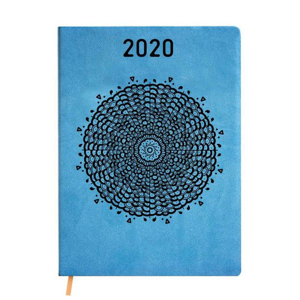 2020 Blue Leather Diary - Black Doily