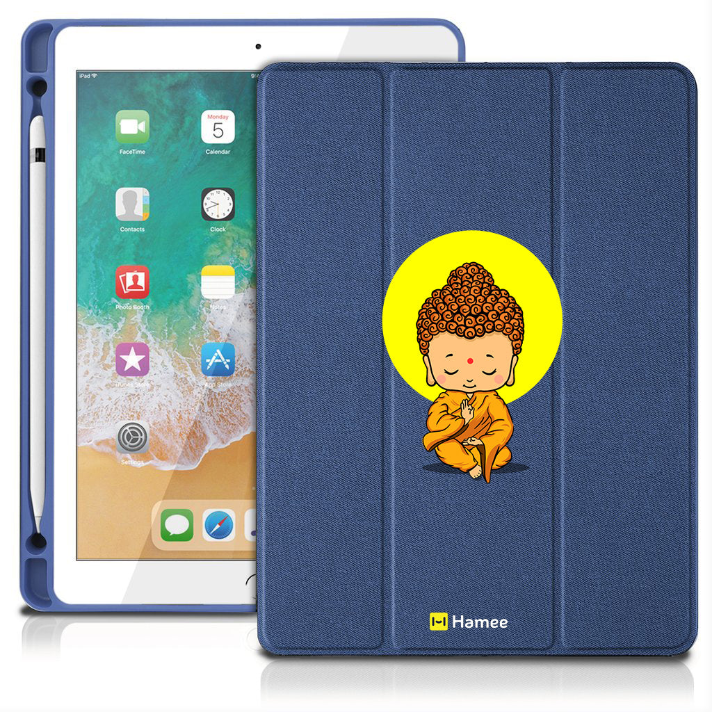 "Buddha - iPad 9.7"" Folio Case with Pencil Holder (Blue)"