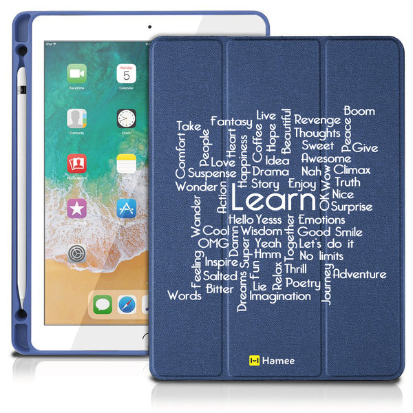 "Learn - iPad 9.7"" Folio Case with Pencil Holder (Blue)"