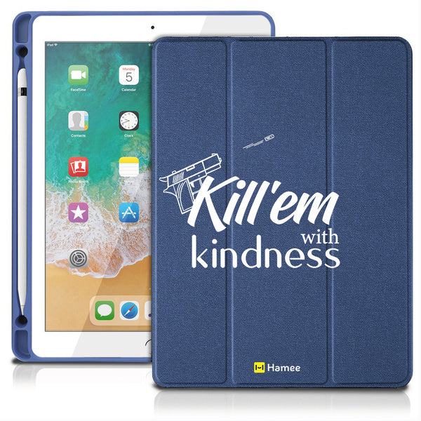 "Kindness - iPad 9.7"" Folio Case with Pencil Holder (Blue)"