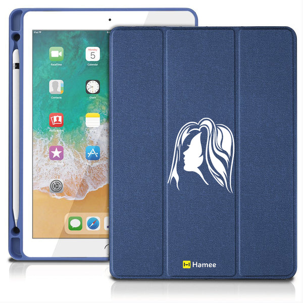 "Face - iPad 9.7"" Folio Case with Pencil Holder (Blue)"