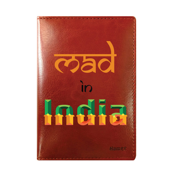Mad In India Brown PU Leather Passport Wallet / Holder-Hamee India