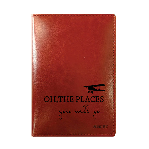 Oh The Places Brown PU Leather Passport Wallet / Holder-Hamee India