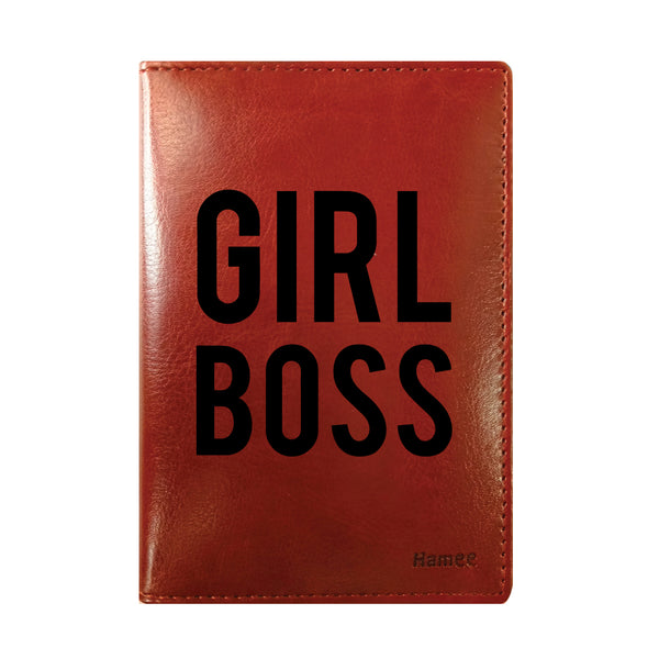 Girl Boss Brown PU Leather Passport Wallet / Holder-Hamee India