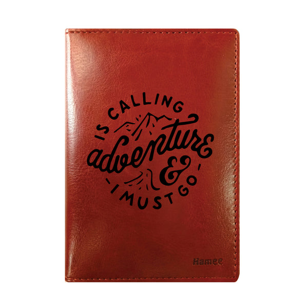 Adventure Is Calling Brown PU Leather Passport Wallet / Holder-Hamee India