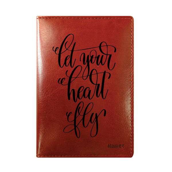 Heart Fly Brown PU Leather Passport Wallet / Holder-Hamee India