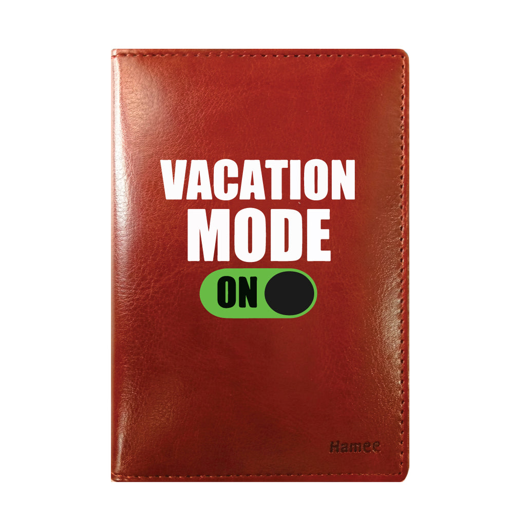 Vacation Mode Brown PU Leather Passport Wallet / Holder-Hamee India
