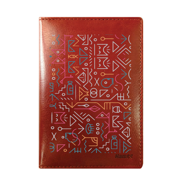 Tribal Brown PU Leather Passport Wallet / Holder-Hamee India