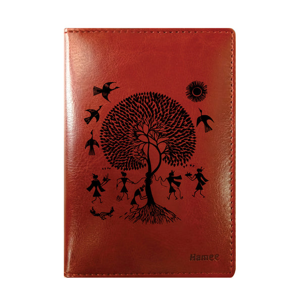 Tribal Art Brown PU Leather Passport Wallet / Holder-Hamee India