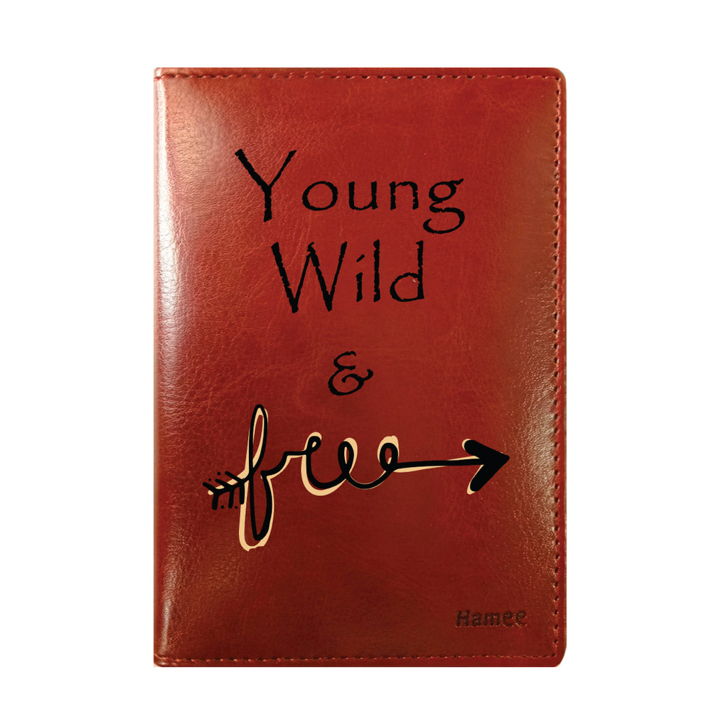 Wild And Free Brown PU Leather Passport Wallet / Holder-Hamee India