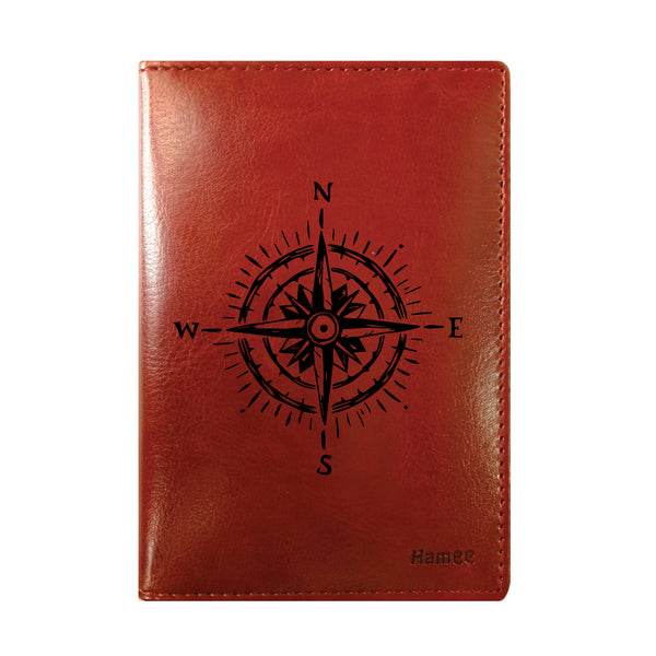 Compass Brown PU Leather Passport Wallet / Holder-Hamee India