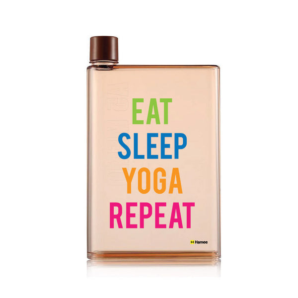 Yoga Repeat - Brown Water Bottle (420 ml)-Hamee India