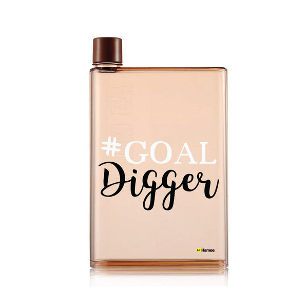 Hamee - Goal Digger - Notebook Style Portable Transparent Brown Shade Memo Water Bottle (420 ml)