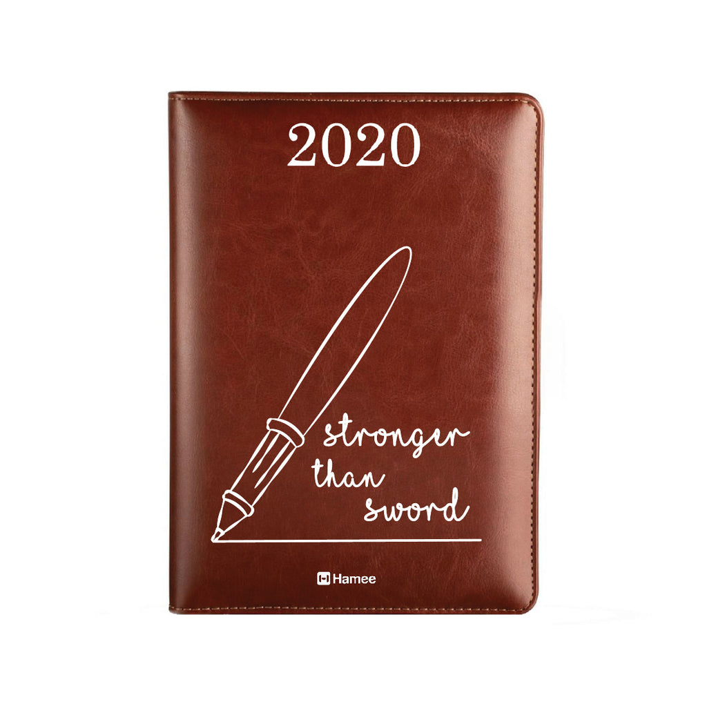 2020 Dark Brown Leather Diary - Sword