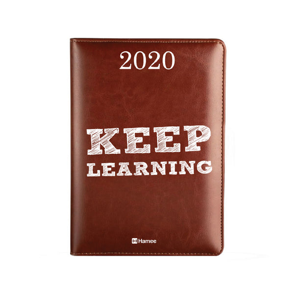 2020 Dark Brown Leather Diary - Keep Learning