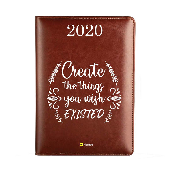2020 Dark Brown Leather Diary - Create