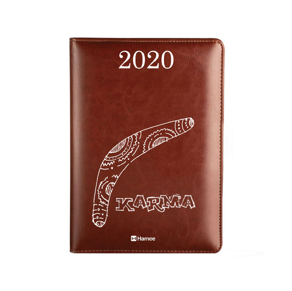 2020 Dark Brown Leather Diary - Karma