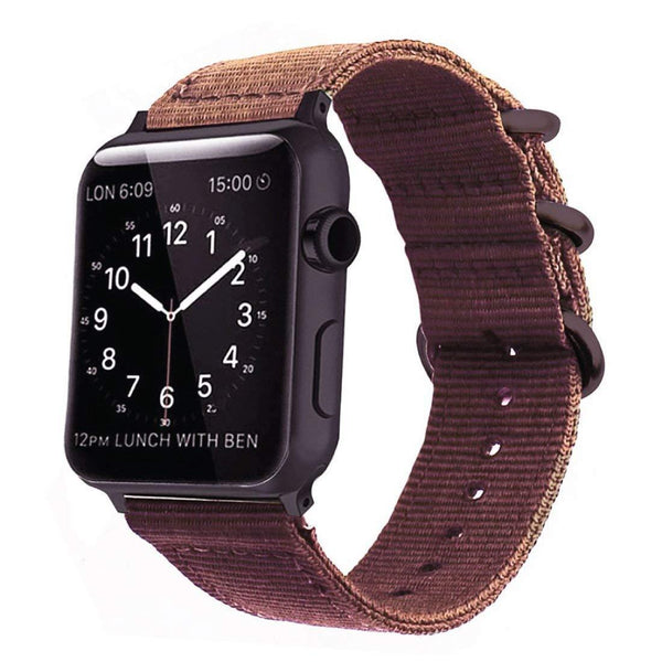 Brown Nylon Woven Band Strap - Apple Watch Series 5/4/3 (44mm/42mm)