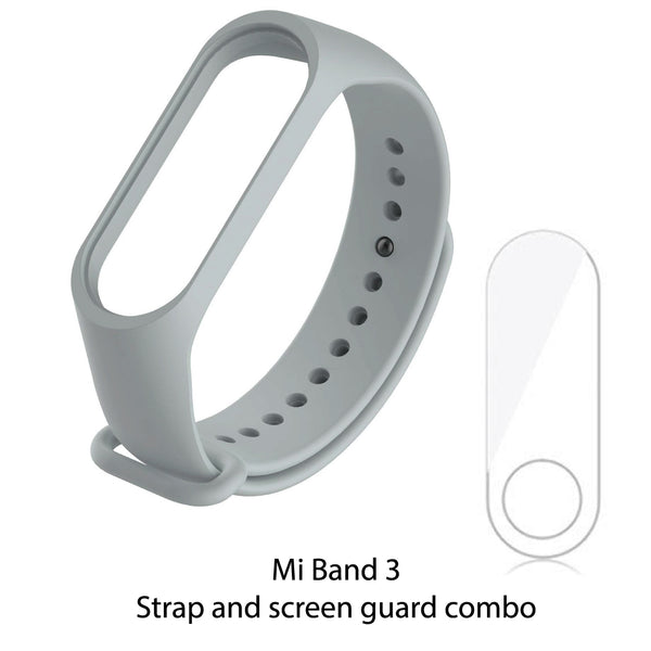 Mi Band 3 Silicon Wrist Strap + Screen Guard - Grey-Hamee India