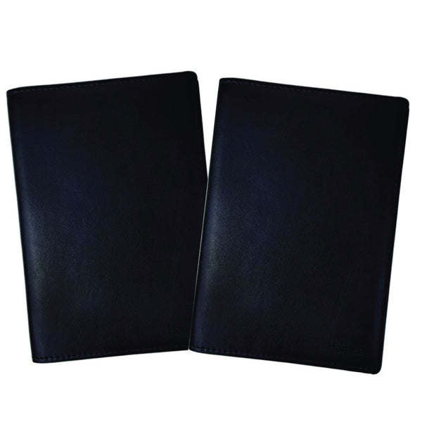 Plain Black PU Leather Passport Wallet / Holder (Set of 2)-Hamee India
