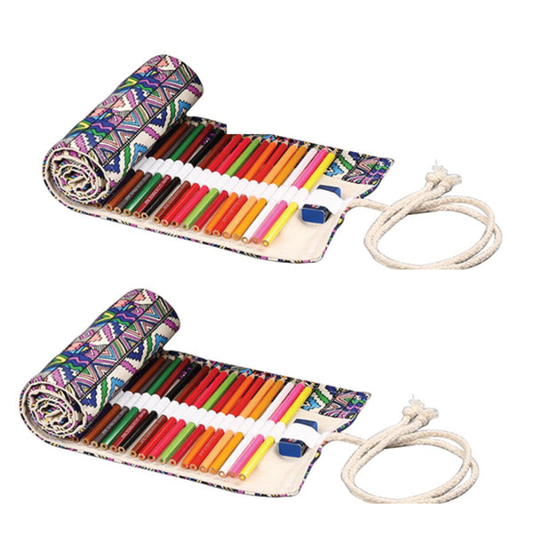 Tribal Canvas Pencil Wrap Case (Set of 2)-Hamee India