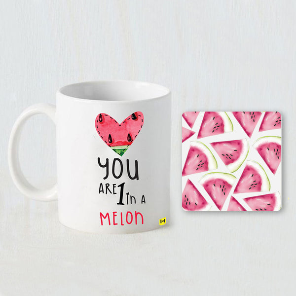Melons Printed White Coffee Mug and Coaster Set