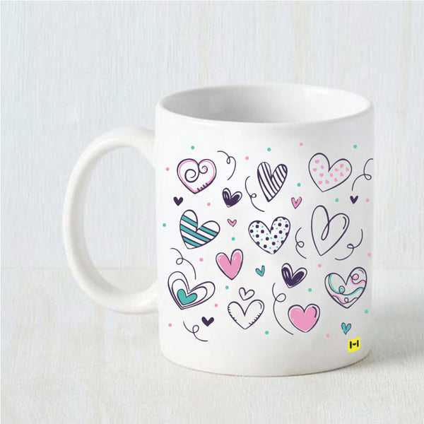 Hamee Valentine's Day Special- Little Hearts- White Coffee Mug-Hamee India